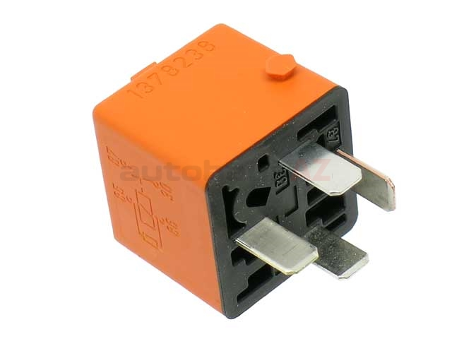 0332019456 Bosch Multi Purpose Relay; With Diode and Mounting Notch; 12V 30Amp Orange with 4 Prong Connector