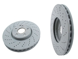 2204211812 Genuine Mercedes Disc Brake Rotor; Front; Vented; Cross-Drilled