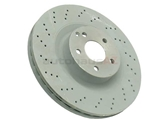 2214211112OE Genuine Mercedes Disc Brake Rotor; Front; Vented and Cross-Drilled; 350 x 32mm