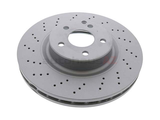 2304210512A Zimmermann Coat Z Disc Brake Rotor; Front; Cross-Drilled 330 x 32mm