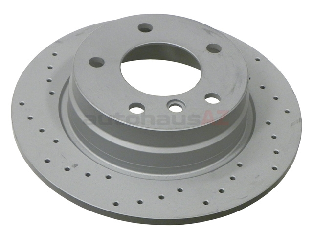 34211165457SP Zimmermann Sport Z X-Drilled Disc Brake Rotor; Rear; Solid 280x10mm; Cross-Drilled
