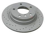 34211165457SP Zimmermann Coat Z Sport Disc Brake Rotor; Rear; Solid 280x10mm; Cross-Drilled