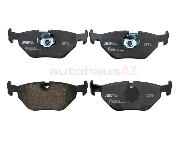 34216761281 Jurid Brake Pad Set; Rear; OE Compound Wide Clip Style for E39 5-Series