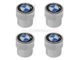 "36110421544 Genuine BMW Tire Valve Stem Cap Set; BMW ""Roundel"" Logo, Set of 4"