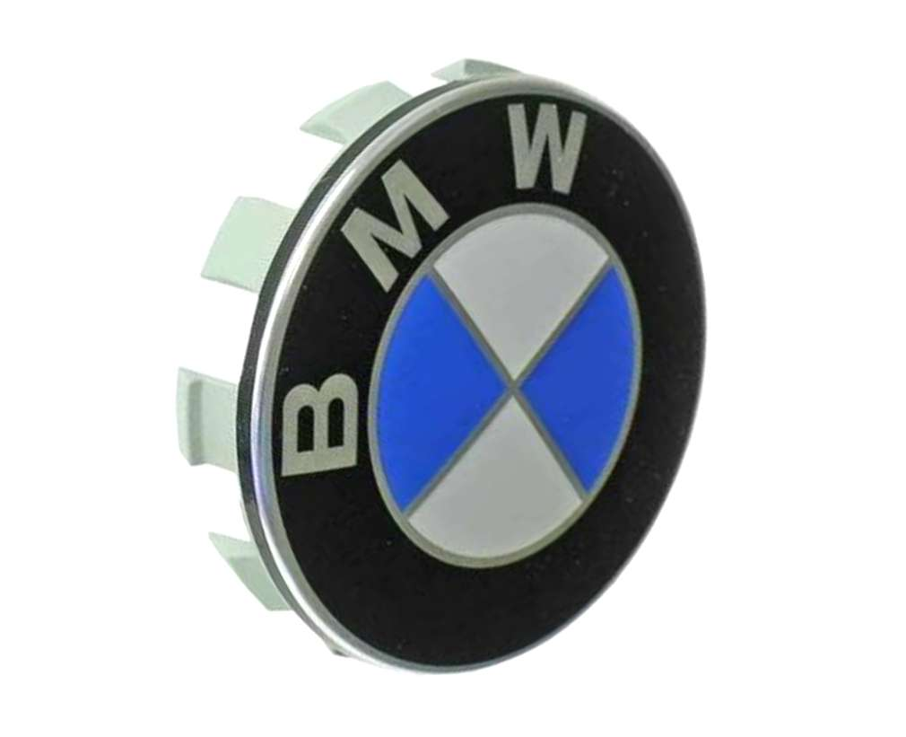 36136783536 Genuine BMW Wheel Center Cap/Emblem; Center Cap with Emblem for Standard Wheel; 68mm Diameter with 2mm Lip (15mm Overall Depth with Ten Plastic Tabs)