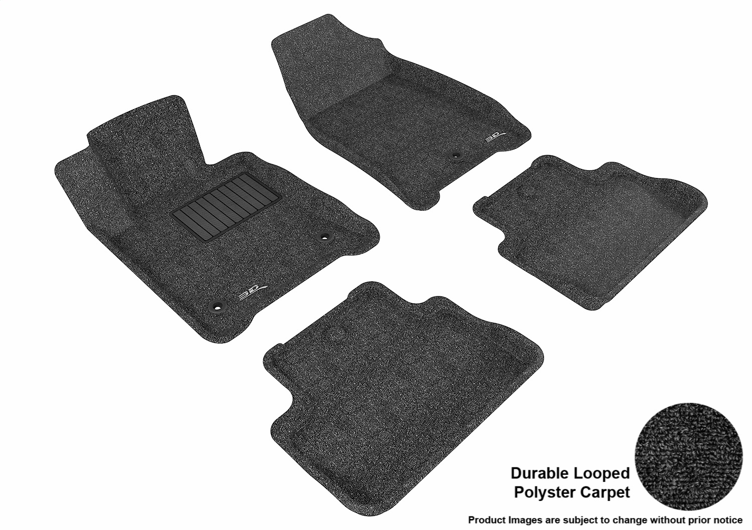 L1AC00302209 3D MAXpider Floor Mat Set; Black; Durable Looped Poly Carpet; Front and Rear