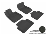 3DM-L1BM00601509 3D MAXpider Floor Mat Set; Black; Carbon Fiber Texture Rubber; Front and Rear