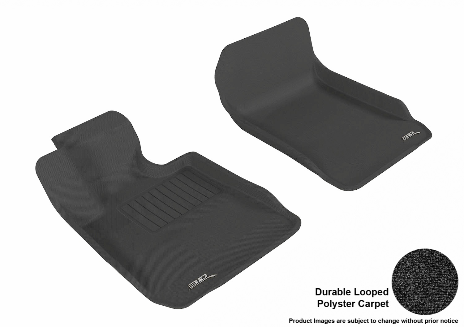 3DM-L1BM00612209 3D MAXpider Floor Mat Set; Black; Durable Looped Poly Carpet; Front