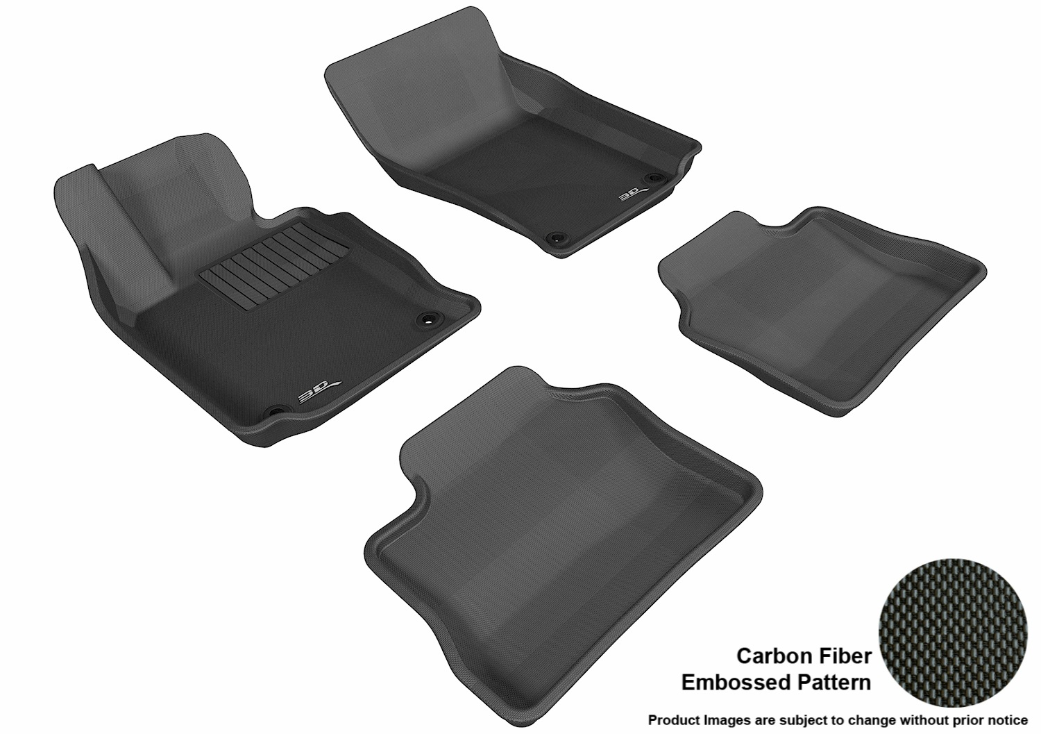 3DM-L1PO00601509 3D MAXpider Floor Mat Set; Black; Carbon Fiber Texture Rubber; Front and Rear