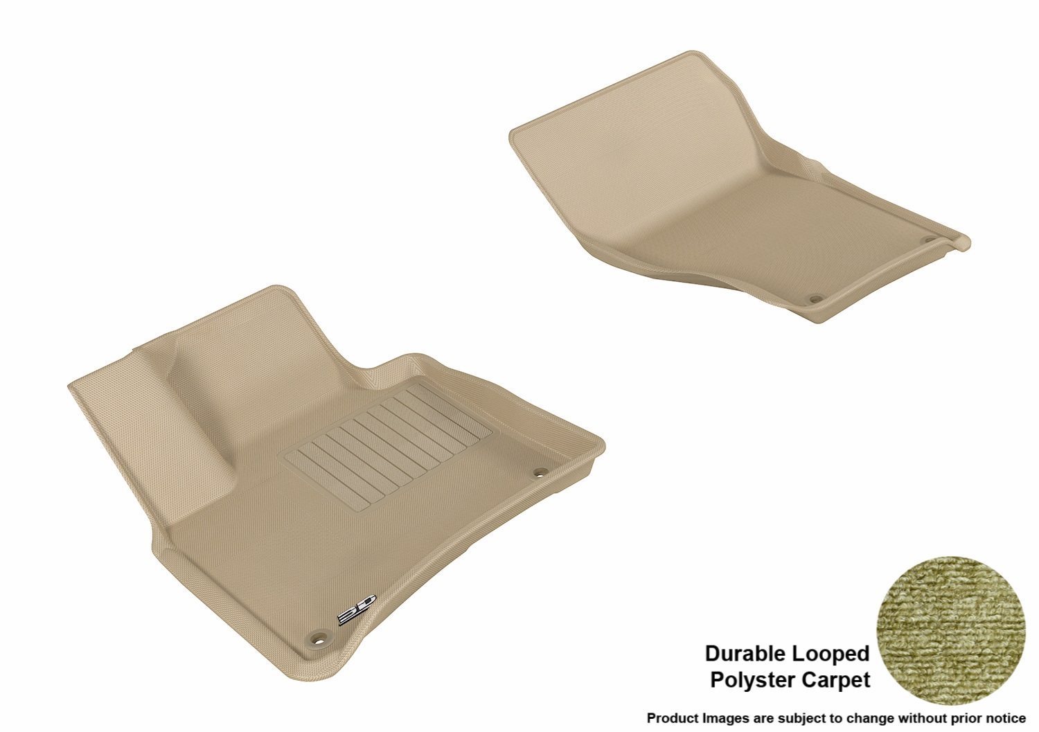 3DM-L1PO01012202 3D MAXpider Floor Mat Set; Tan; Durable Looped Poly Carpet; Front