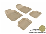3DM-L1SA00001502 3D MAXpider Floor Mat Set; Tan; Carbon Fiber Texture Rubber; Front and Rear