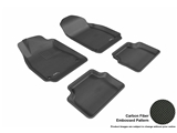 3DM-L1SA00001509 3D MAXpider Floor Mat Set; Black; Carbon Fiber Texture Rubber; Front and Rear