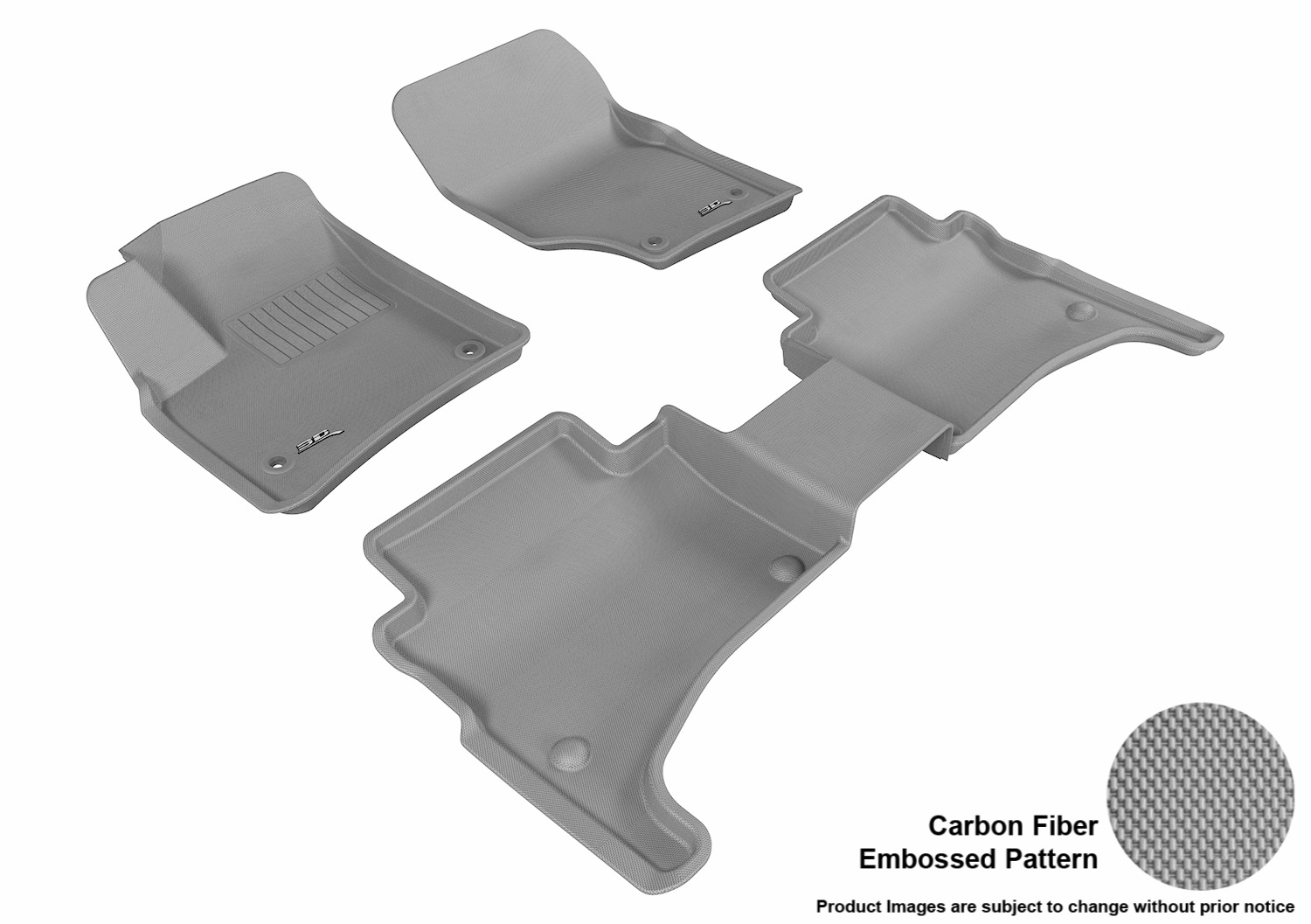 3DM-L1VW01201501 3D MAXpider Floor Mat Set; Gray; Carbon Fiber Texture Rubber; Front and Rear
