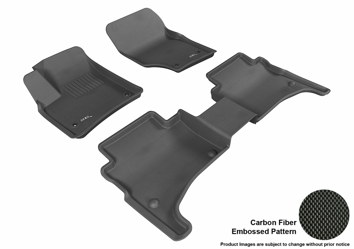 3DM-L1VW01201509 3D MAXpider Floor Mat Set; Black; Carbon Fiber Texture Rubber; Front and Rear