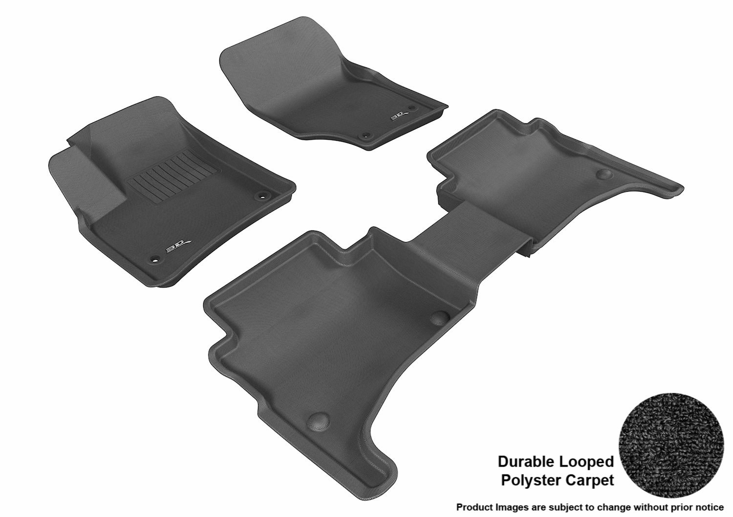 3DM-L1VW01202209 3D MAXpider Floor Mat Set; Black; Durable Looped Poly Carpet; Front and Rear