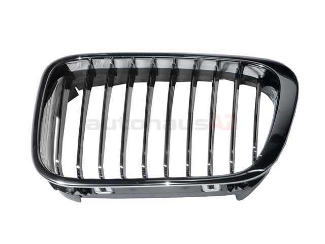 51138208489OE Genuine BMW Grille; Front Left; Chrome w/ Black Chromed Edge Gills.