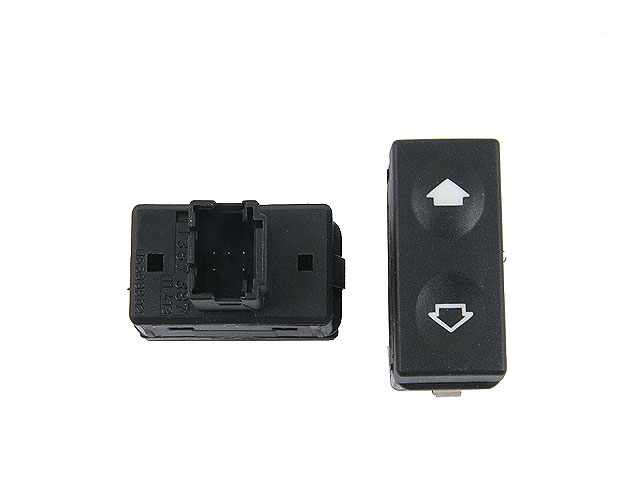 61311387387 Genuine BMW Power Window Switch; Front with Tip Function; Black Terminal Housing
