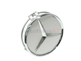 66470202 Genuine Mercedes Wheel Center Cap/Emblem; Burnished Silver Plastic; 15mm X 70mm