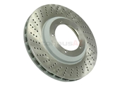 93035104702 Sebro Coated Disc Brake Rotor; Front Left; Directional; Vented; 304x32mm; Cross-Drilled
