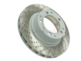 93035204501 Sebro Coated Disc Brake Rotor; Rear Left; Directional; Vented; Cross-Drilled