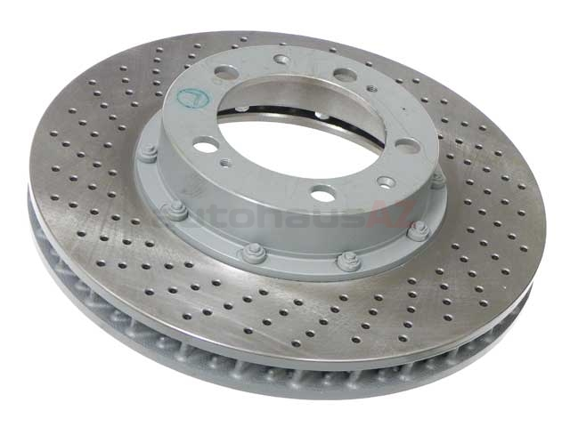 99335104510 O.E.M. Disc Brake Rotor; Front Left; Directional; Vented; Cross-Drilled