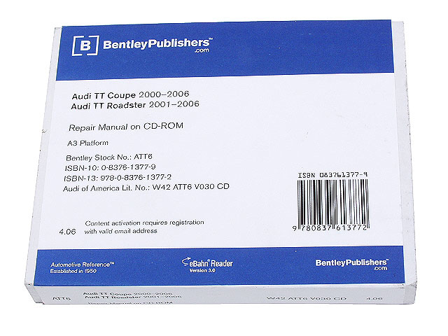 AU8052056 Robert Bentley Repair Manuals - DVD Rom Versions; 2000-2006 Audi TT & TT Quattro; OE Factory Authorized; eBahn 3.0