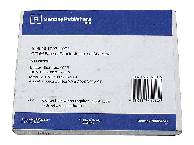 AU8059050 Robert Bentley Repair Manuals - DVD Rom Versions; 1993-1995 Audi 90; OE Factory Authorized