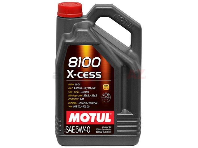 102870 Motul 8100 X-cess Engine Oil; 5W-40 Synthetic; 5 Liter