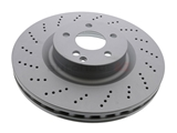 000421151207 Zimmermann Coat Z Disc Brake Rotor; Front; Vented, CrossDrilled; 344x32mm